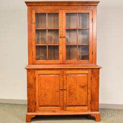 Eldred Wheeler Chippendale-style Glazed Cherry Step-back Cupboard