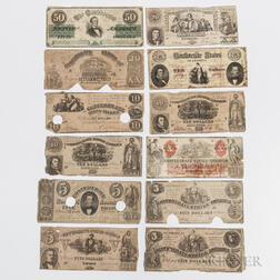 Thirteen 1861 Confederate Notes