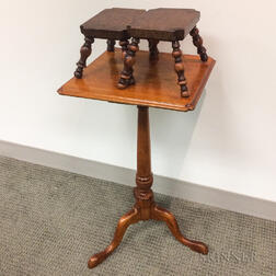 Chippendale Birch Candlestand and a Pair of Burl Cricket Stools