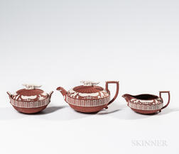Three-piece Wedgwood Rosso Antico Egyptian Tea Set