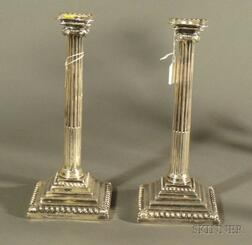 Pair of George III Weighted Silver Candlesticks