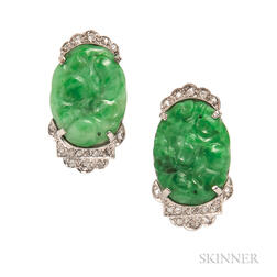 Platinum, Jade, and Diamond Earrings
