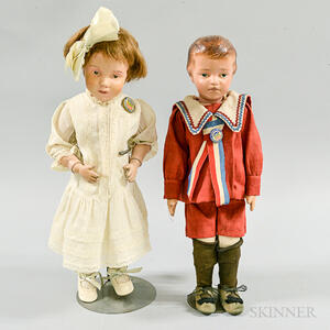 Two Schoenhut Carved and Painted Wood Dolls