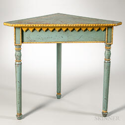 Folk Painted and Carved Wood Corner Table
