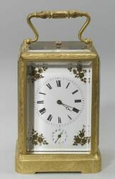 French Engraved Bronze Half Striking Repeating Alarm Carriage Clock