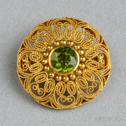 Arts & Crafts 18kt Gold and Peridot Brooch, Tiffany & Co.