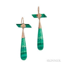 Antique Gold and Malachite Earrings