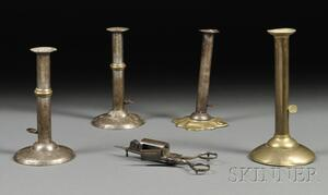 Four Push-up Candlesticks and a Steel Candle Snuffer