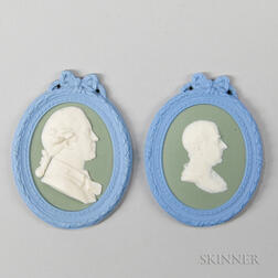 Pair of Wedgwood Tricolor Jasper Self-framed Portrait Medallions