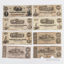 Eight 1862 Confederate Notes