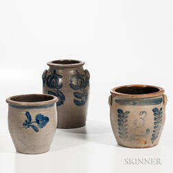 Three Cobalt-decorated Stoneware Jars