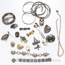 Group of Antique Sterling Silver and Costume Jewelry