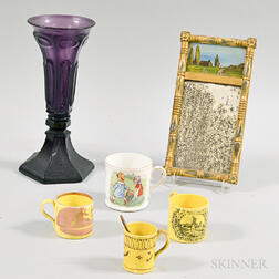 Four Child's Mugs, a Sandwich-type Amethyst Vase, and a Miniature Tabernacle Mirror