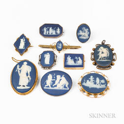 Ten Wedgwood Dark Blue Jasper-mounted Medallions