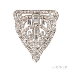 Art Deco Platinum and Diamond Dress Clip