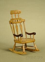 Miniature New England  Polychrome-painted Comb-back Windsor Rocking Chair