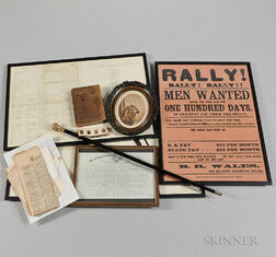 Recruiting Poster, Commission, Cane, and Ephemera Relating to Benjamin Read Wales, 42nd and 45th Massachusetts, and 1st U.S. Colored Tr