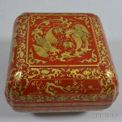 Red-lacquered Covered Box