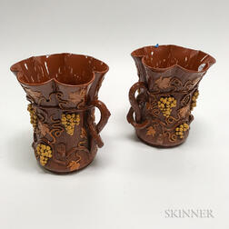 Pair of Redware Vases with Applied Grapevines