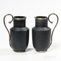Pair of Wedgwood Metal-mounted Black Basalt Jugs