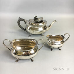 Three-piece English Sterling Silver Tea Set