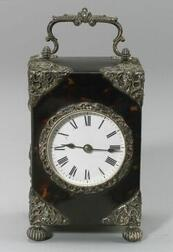 English Faux Tortoiseshell and Silver Mounted Half Striking Carriage Clock