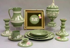 Twelve Wedgwood Solid Green Jasper Items
