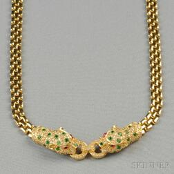 14kt Gold, Emerald, Ruby, and Diamond Necklace