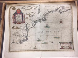 North America, East Coast, Maine to Virginia. Jan Janssonius (1588-1664) Nova Belgica et Anglia Nova.