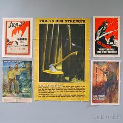 Five U.S. Firefighting and Forestry Related Lithograph Posters