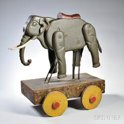 Painted and Carved Elephant Wagon