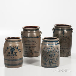 Four Cobalt-decorated Pennsylvania and West Virginia Advertising Jars
