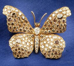 Colored Diamond and Diamond Butterfly Brooch
