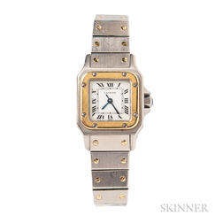 Stainless Steel and 18kt Gold Wristwatch, Cartier