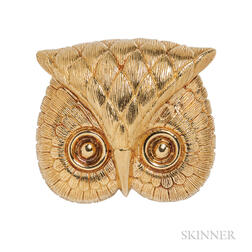 Large 18kt Gold Owl Pendant/Brooch, Tiffany & Co.