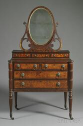Federal Carved Mahogany and Bird's-eye Maple Veneer Dressing Chest