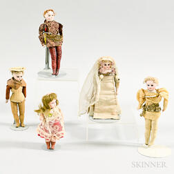 Five Small French Character Dolls