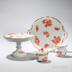 "Four Pieces of Herend ""Fortuna"" Pattern Porcelain Tableware,      Four Pieces of Herend ""Fortuna"" Pattern Tableware"