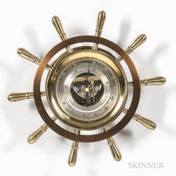 Chelsea Brass and Polished Bronze Yacht Wheel Aneroid Wall Barometer