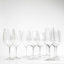 Twenty Red Wineglasses, including two with flared rims marked Riedel, six of a different style marled Riedel, and three marked Sch