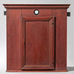 Rare Early Red-painted Pine Hanging Cupboard with Glazed Watch Window and Silver Pocket Watch