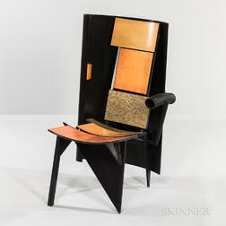 Jay Stanger Steel and Bent Plywood Sculptural Chair