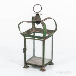 Green-painted Tin Hanging Lantern
