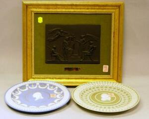 Framed Wedgwood Black Basalt Apotheosis of Homer Plaque and Two Commemorative Jasper   Plates