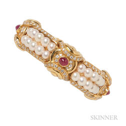 18kt Gold, Ruby, Cultured Pearl, and Diamond Bracelet