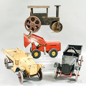 Four Painted Steel and Tin Vehicles