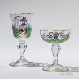 Nineteen Pieces of Blown Glass Stemware, all with polychrome painted chinoiserie scenes, ten wines, ht. 6 5/8, and nine sherbets, ht. 4