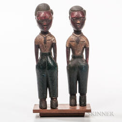 Two Polychrome Colonial Figures