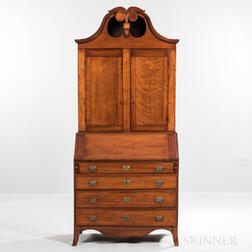 Federal Inlaid Cherry Scroll-top Desk/Bookcase