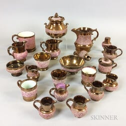 Twenty-one Textured Copper and Pink Lustre Ceramic Tableware Items